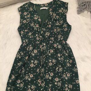 Sunny Girl Green Flower Print Sleeveless Dress